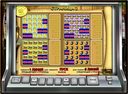 Auszahlungstabelle des Spielautomat Pirate