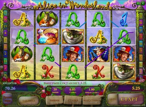 Bonus Kombination von Spielautomat Alice in wonderland