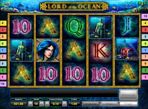 Die Rollen des Spielautomat Lord of the Ocean