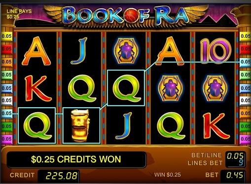 Die Walzen des Spielautomaten Book of Ra