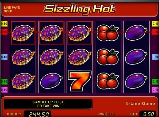 Die Walzen von Slot Sizzling Hot