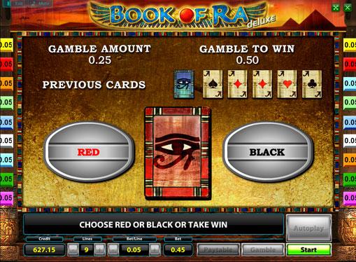 Verdoppelung Spiel des Spielautomat Book of Ra Deluxe